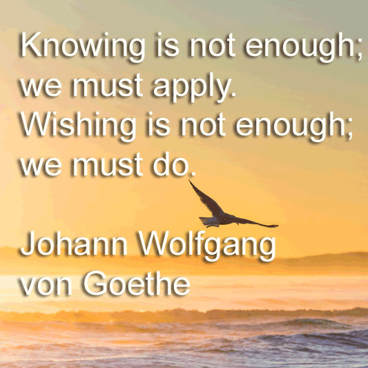 Johann Wolfgang von Goethe says Knowing is not enough; we must apply. Wishing is not enough; we must do.