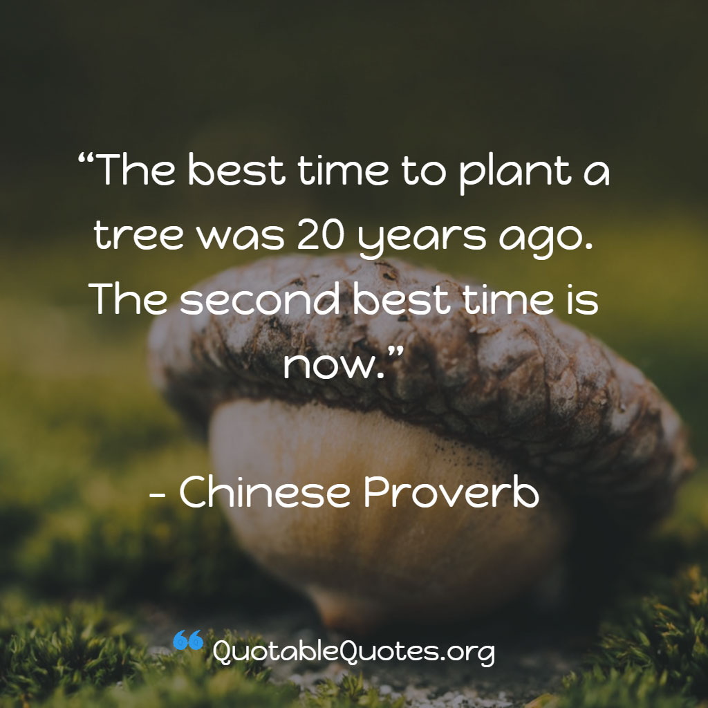 Chinese Proverb says The best time to plant a tree was 20 years ago. The second best time is now.